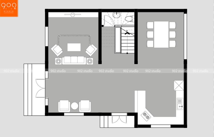 Thiết kế kiến trúc biệt thự 3 tầng - Mặt bằng tầng 1- BT125