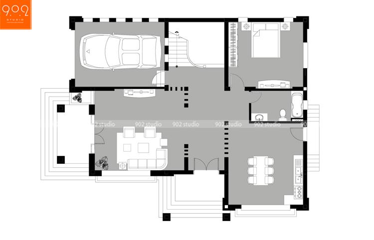 Thiết kế kiến trúc biệt thự 3 tầng - Mặt bằng tầng 1 - BT126