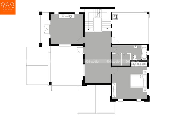 Thiết kế kiến trúc biệt thự 3 tầng - Mặt bằng tầng 3 - BT126