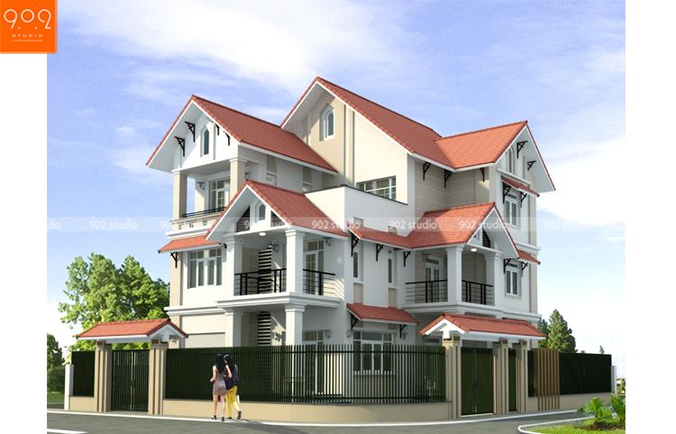 Thiết kế kiến trúc biệt thự 3 tầng - Phối cảnh - BT126