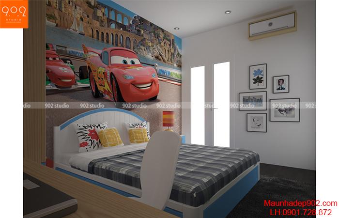 Thiết kế nội thất chung cư - Phòng ngủ con trai - NT10