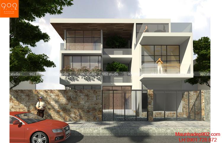 Thiết kế biệt thự 3 tầng - Phối cảnh 2 -BT123