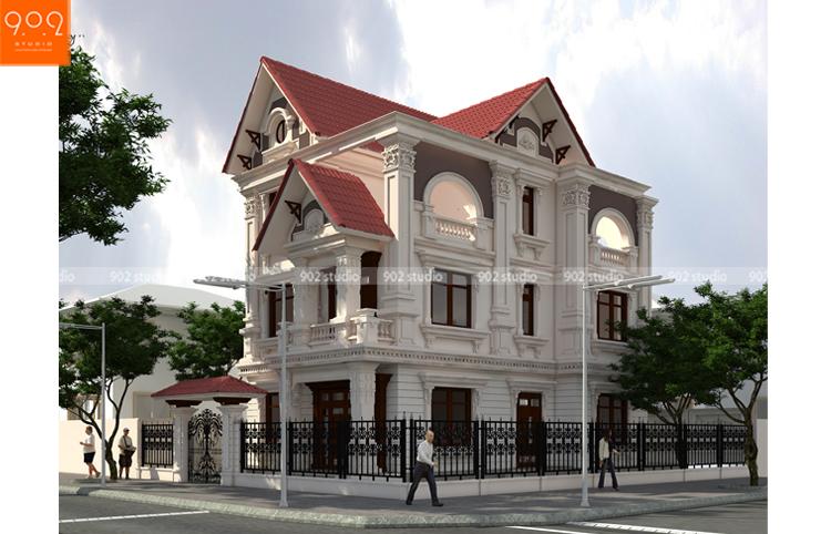 Thiết kế kiến trúc biệt thự 3 tầng - Phối cảnh - BT125