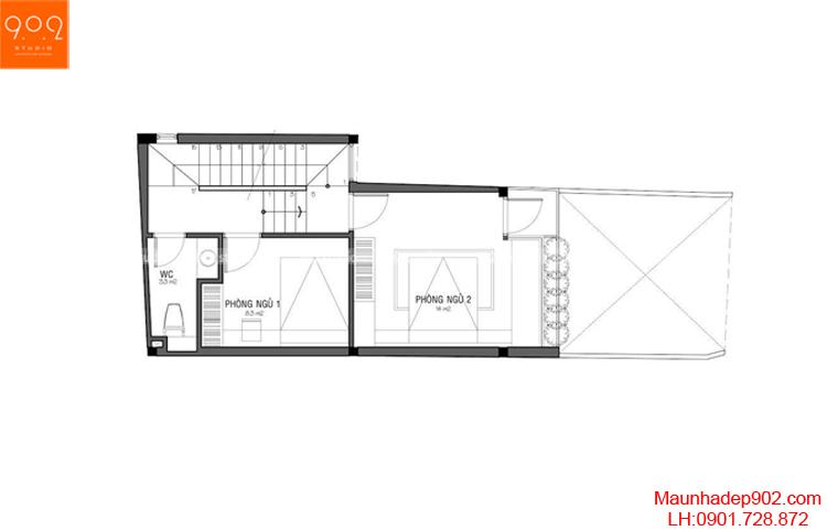 Thiết kế nhà phố - Mặt bằng tầng 2 - NP17