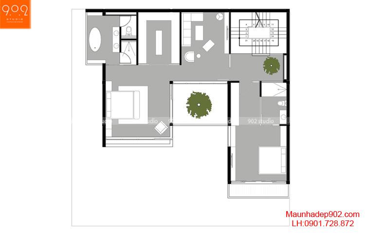 Thiết kế biệt thự - Mặt bằng tầng 2 - BT123