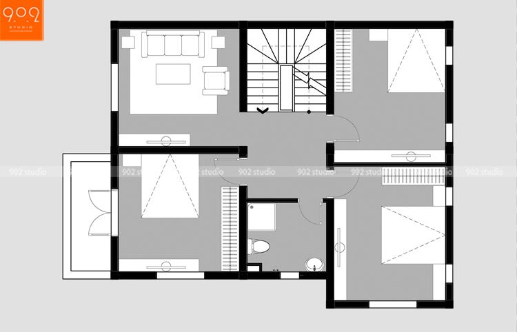 Thiết kế kiến trúc biệt thự 3 tầng - Mặt bằng tầng 2- BT125