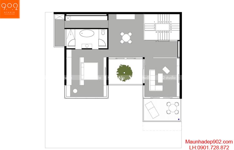 Thiết kế biệt thự - Mặt bằng tầng 3 - BT123