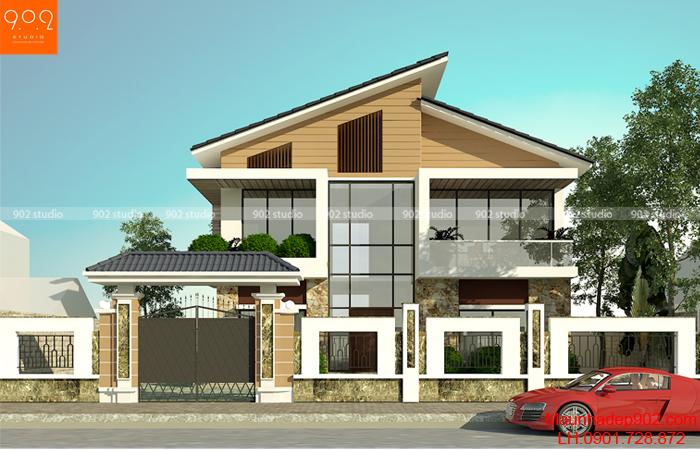 Mẫu biệt thự 2 tầng đẹp - Phối cảnh (nguồn: maunhadep902.com)