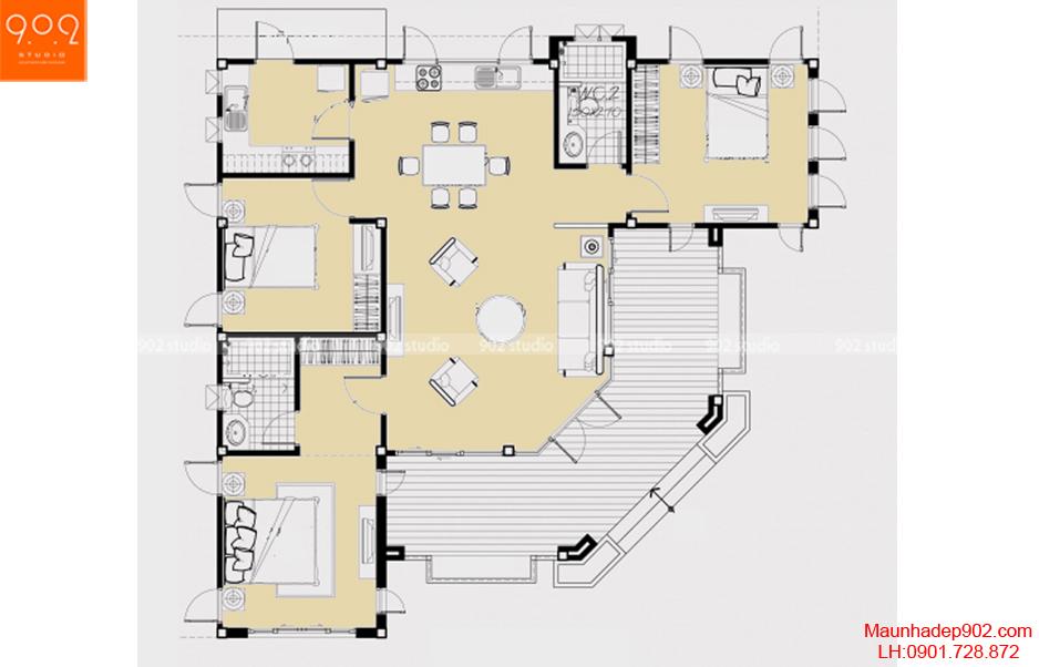 Thiết kế biệt thự tân cổ điển - Mặt bằng - BT55