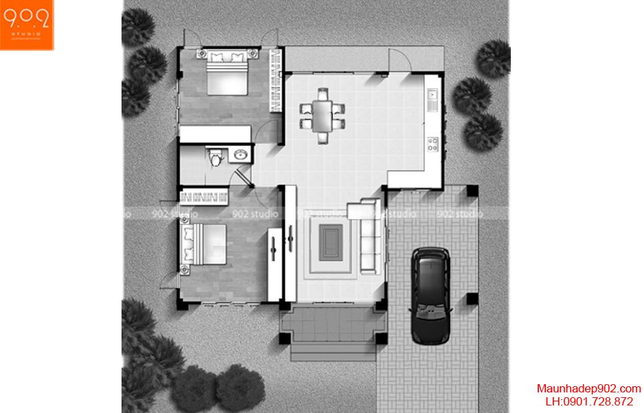Thiết kế biệt thự đơn giản - Mặt bằng - BT59