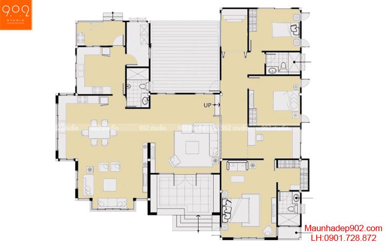 Thiết kế biệt thự 1 tầng hiện đại - Mặt bằng - BT49