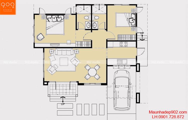 Thiết kế biệt thự nhà vườn 1 tầng- Mặt bằng - BT71