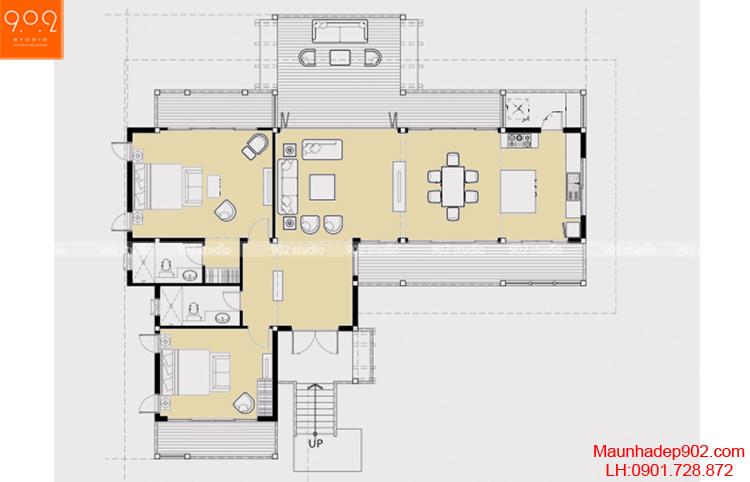 Thiết kế biệt thự sân vườn 1 tầng - Mặt bằng - BT72