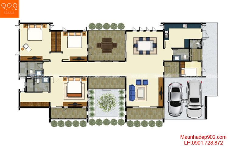 Thiết kế biệt thự phong cách hiện đại - Mặt bằng - BT74