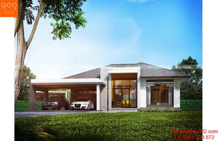 Thiết kế biệt thự 1 tầng - Phối cảnh - BT04
