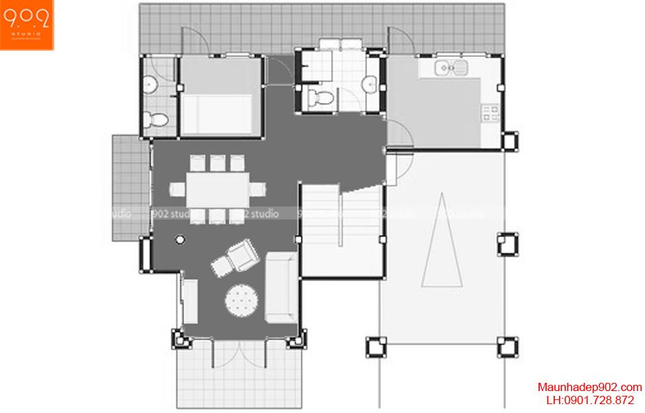 Thiết kế biệt thự 2 tầng mái thái - Mặt bằng tầng 1 - BT63
