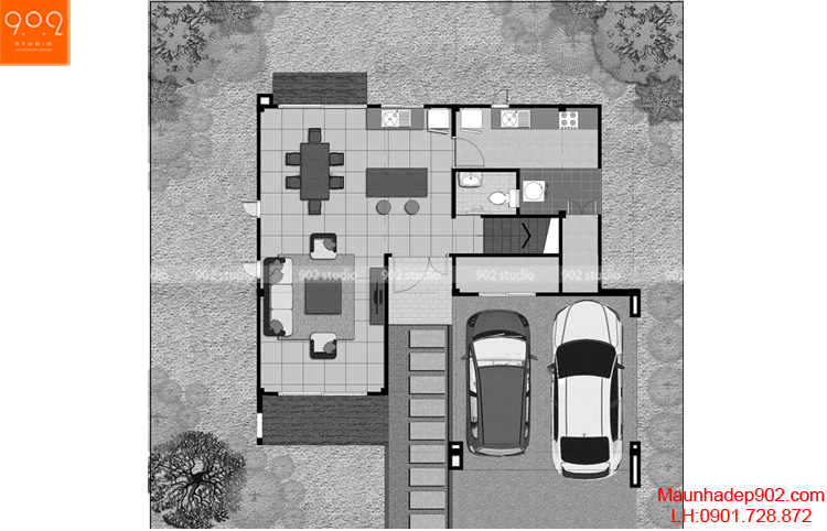 Thiết kế biệt thự 2 tầng đẹp - Mặt bằng tầng 1 - BT64