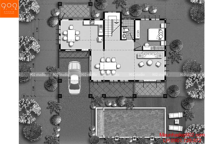 Thiết kế biệt thự mái thái - Mặt bằng tầng 1 - BT65