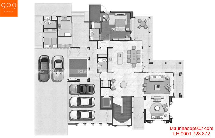 Thiết kế biệt thự 2 tầng tân cổ điển - Mặt bằng tầng 1 - BT67