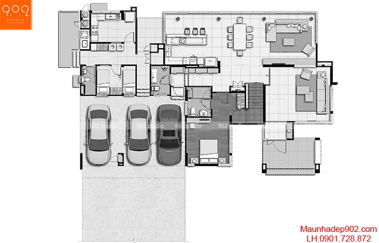 Thiết kế biệt thự hiện đại - Mặt bằng tầng 1 - BT68