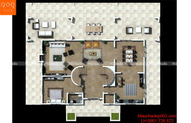Thiết kế biệt thự 2 tầng - Mặt bằng tầng 1 - BT69