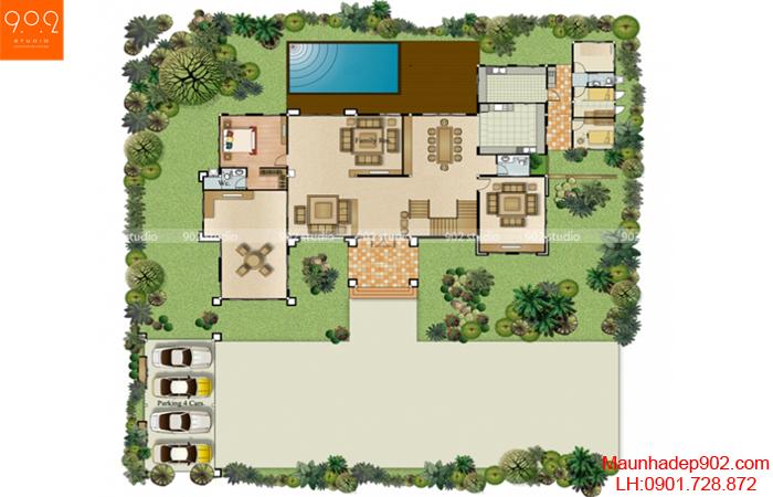 Mẫu biệt thự mái thái - Mặt bằng tầng 1 - BT11