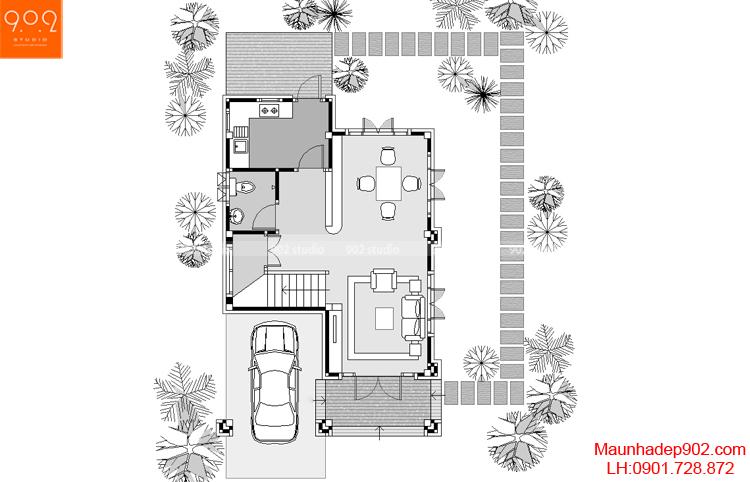 Mẫu biệt thự phố đẹp - Mặt bằng tầng 1 - BT41
