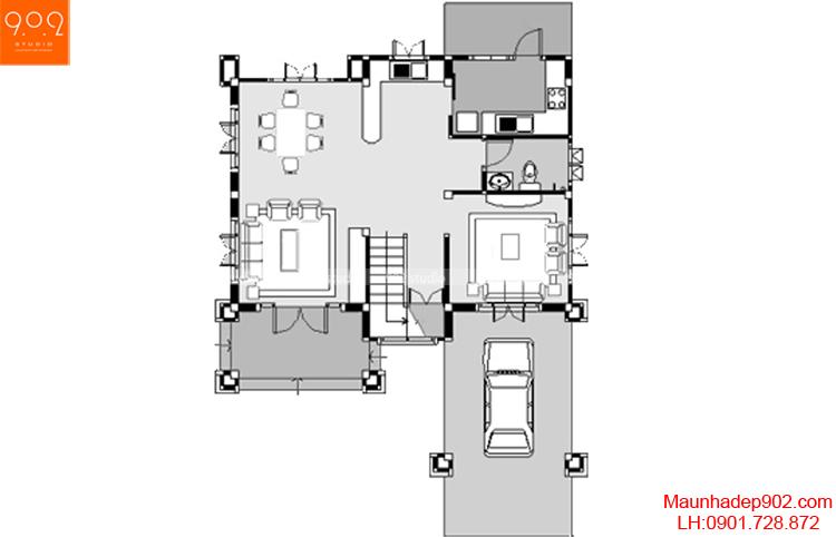 Thiết kế biệt thự nhà vườn 2 tầng- Mặt bảng tầng 1 - BT42