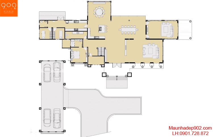Thiết kế biệt thự cổ điển - Mặt bằng tầng 1 - BT44
