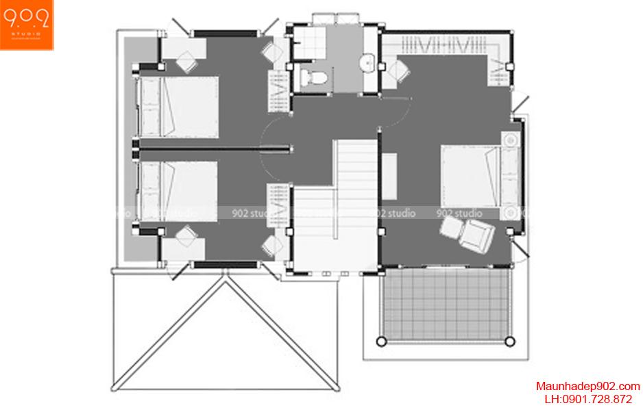 Thiết kế biệt thự 2 tầng mái thái - Mặt bằng tầng 2 - BT63