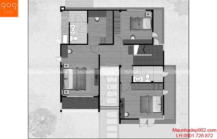 Thiết kế biệt thự 2 tầng đẹp - Mặt bằng tầng 2 - BT64