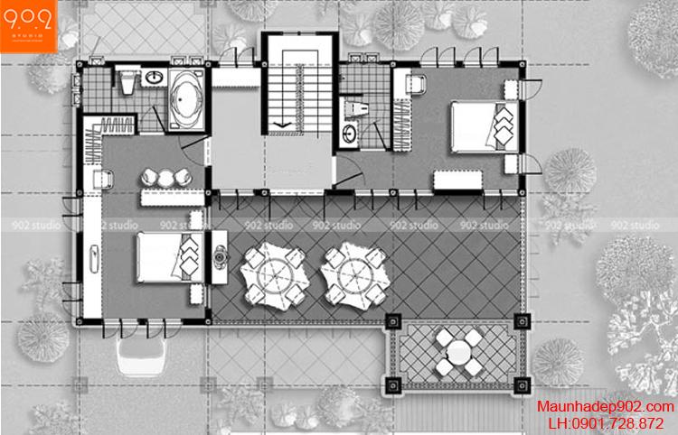 Thiết kế biệt thự mái thái - Mặt bằng tầng 2 - BT65