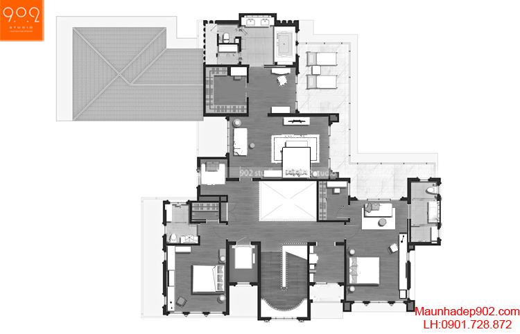 Thiết kế biệt thự 2 tầng tân cổ điển - Mặt bằng tầng 2 - BT67
