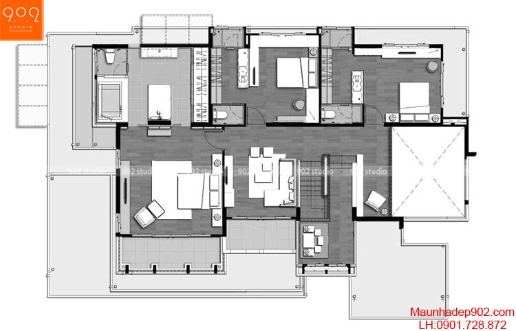 Thiết kế biệt thự hiện đại - Mặt bằng tầng 2 - BT68
