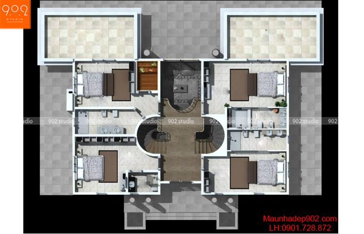 Thiết kế biệt thự 2 tầng - Mặt bằng tầng 2 - BT69