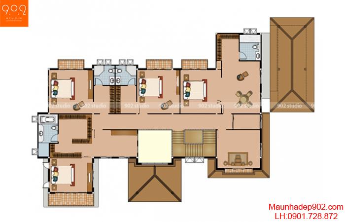 Mẫu biệt thự mái thái - Mặt bằng tầng 2 - BT11