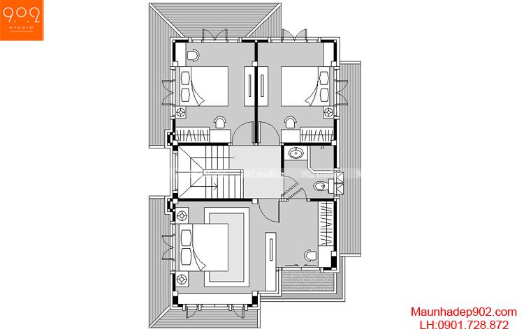 Mẫu biệt thự phố đẹp - Mặt bằng tầng 2 - BT41