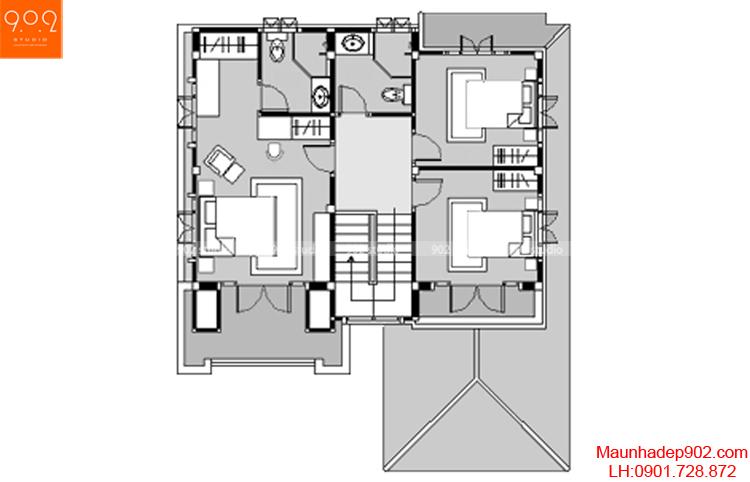 Thiết kế biệt thự nhà vườn 2 tầng - Mặt bảng tầng 2 - BT42