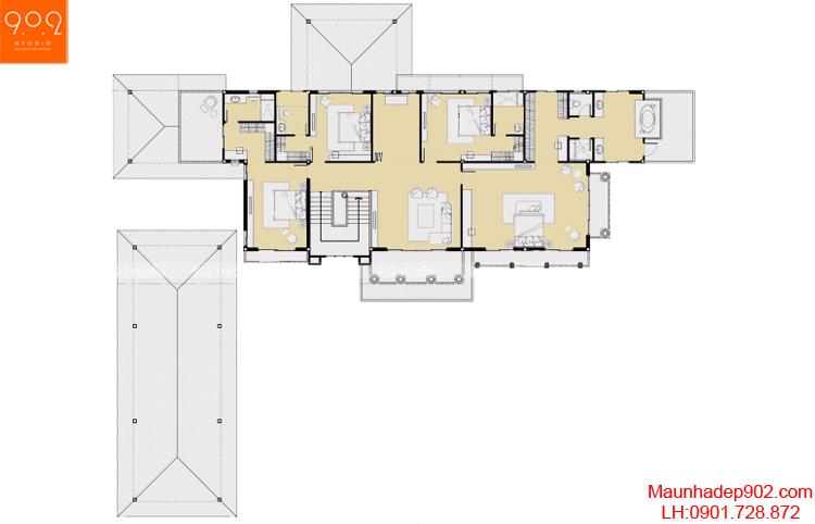 Thiết kế biệt thự cổ điển - Mặt bằng tầng 2 - BT44