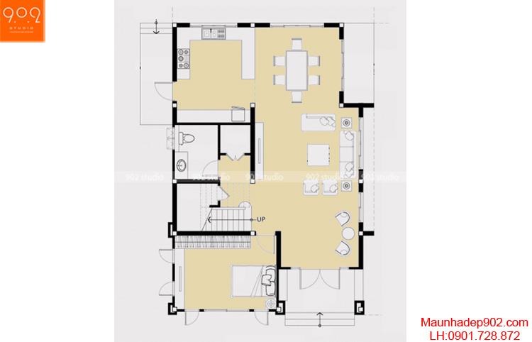 Thiết kế biệt thự đẹp - Mặt bằng tầng 1 - BT70