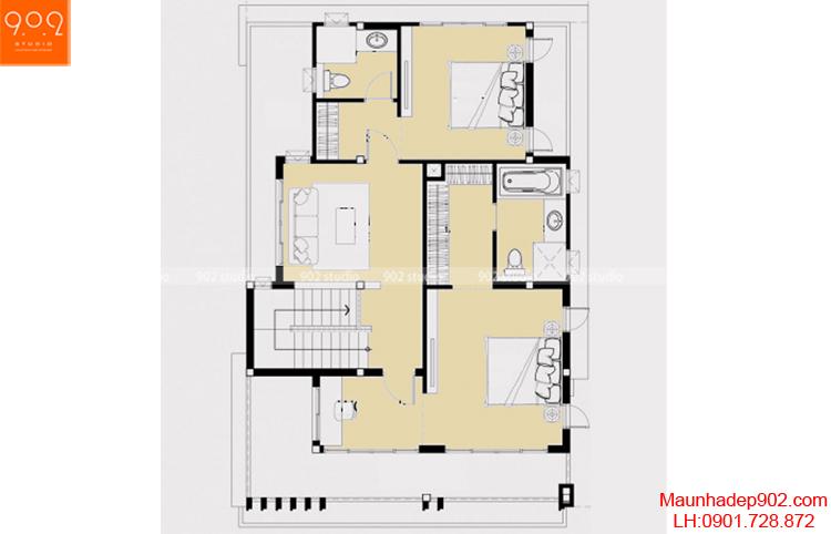 Thiết kế biệt thự đẹp - Mặt bằng tầng 2 - BT70