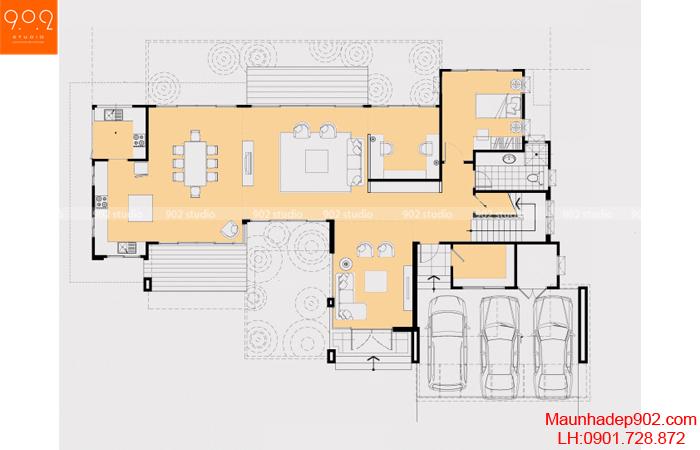 Thiết kế biệt thự 2 tầng - Mặt bằng tầng 1 - BT23