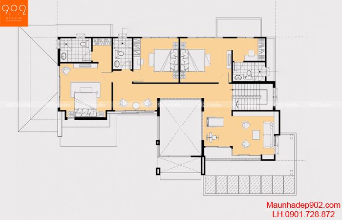 Thiết kế biệt thự 2 tầng - Mặt bằng tầng 2 - BT23