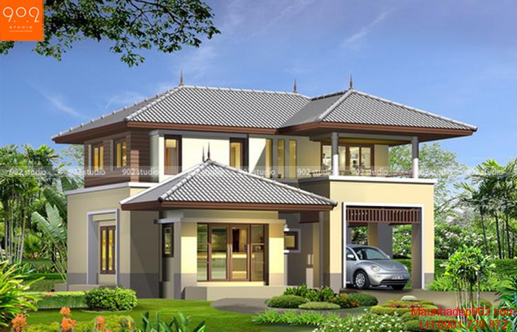 Thiết kế biệt thự 2 tầng mái thái - Phối cảnh - BT63