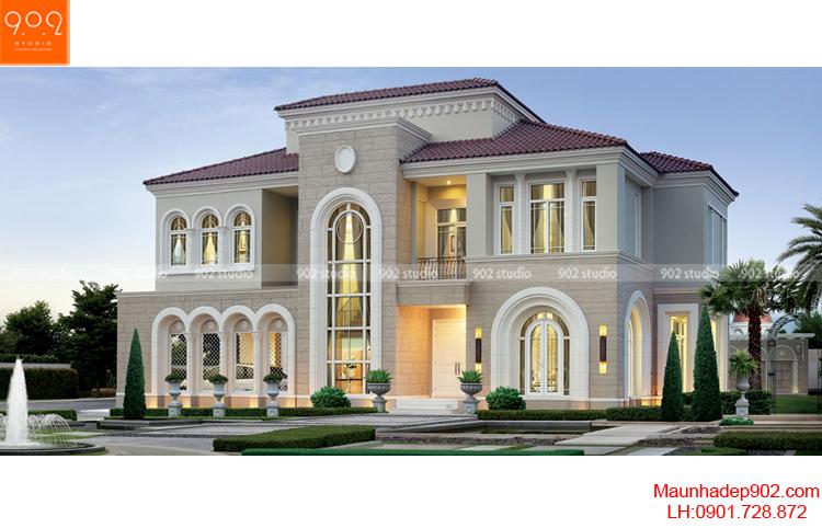 Thiết kế biệt thự 2 tầng tân cổ điển - Phối cảnh - BT67