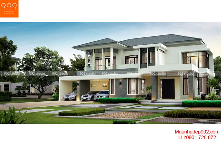 Thiết kế biệt thự hiện đại - Phối cảnh - BT68