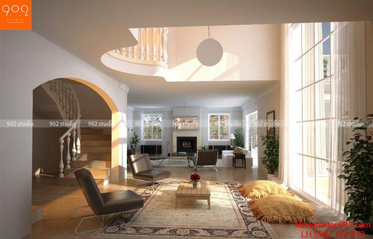 Thiết kế biệt thự 2 tầng - phòng khách - BT69