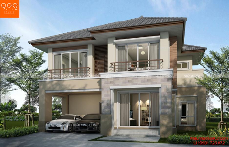 Thiết kế biệt thự mái dốc 2 tầng - BT58