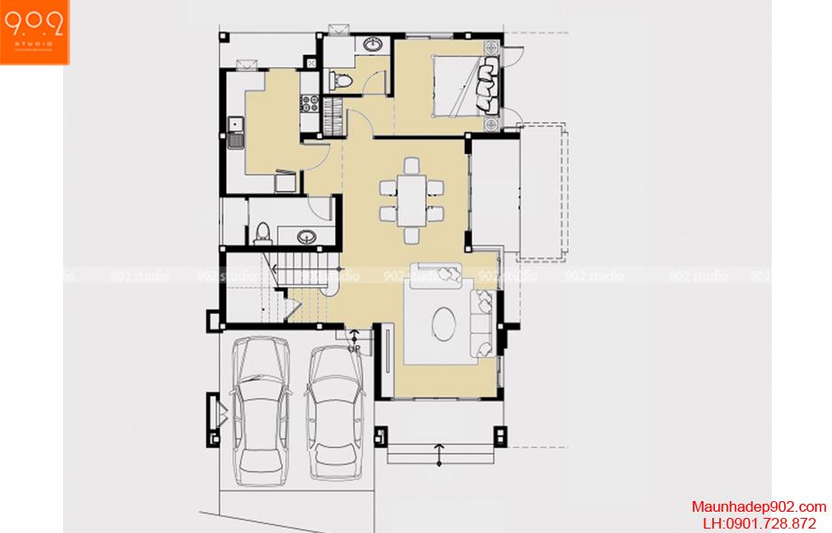 Thiết kế nhà đẹp - Mặt bằng tầng 1 - BT56