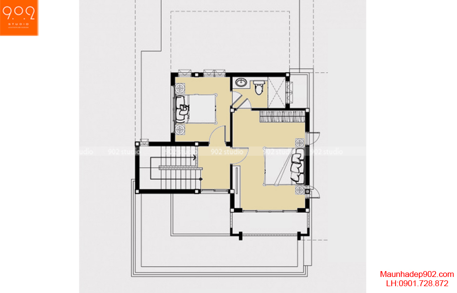 Thiết kế nhà đẹp - Mặt bằng tầng 2 - BT56